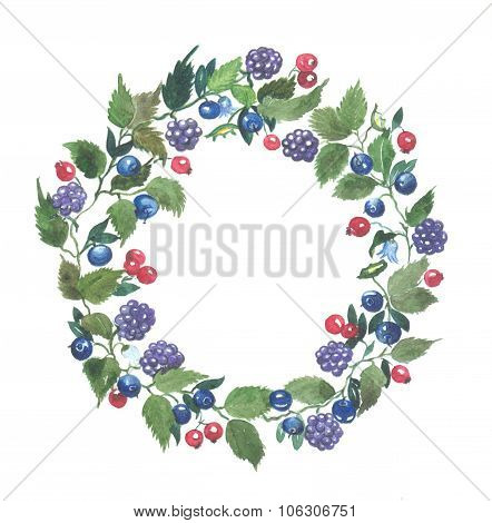 Berry and blueberry wreath watercolor