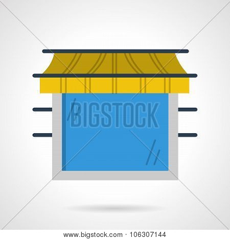 Storefront window flat color vector icon