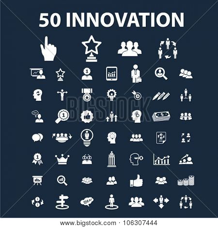 innovation technology icons, signs set, vector for infographics, mobile, website