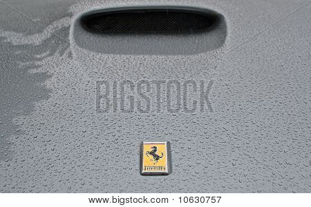 Ferrari logo on wet bonnet