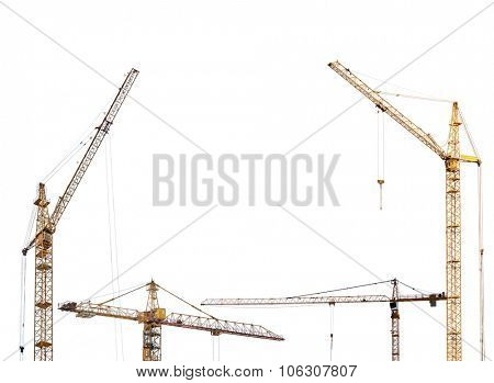 half frame from yellow hoisting cranes isolate on white background