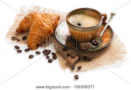 Cup Of Espresso With Croissants