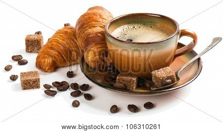 Coffee And Croissants For Breakfast