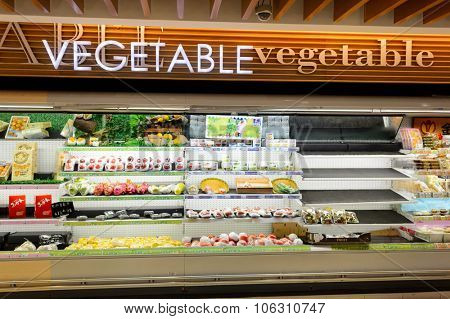HONG KONG - JUNE 01, 2015: interior of the food supermarket.  Supermarkets in Hong Kong are strong in processed, chilled and frozen, canned and fresh foods