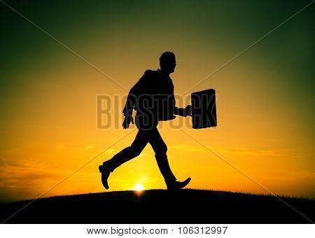 Business man Running Commuter Late Hurry Concept
