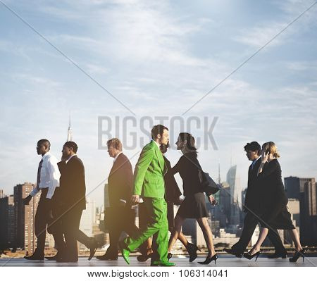 Business People Contrariant Opposite Concept