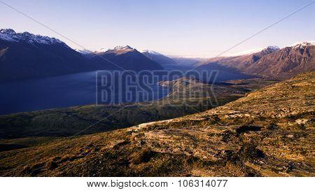 Marvelous View Of Lake Wakatipu Mountain Range Concept