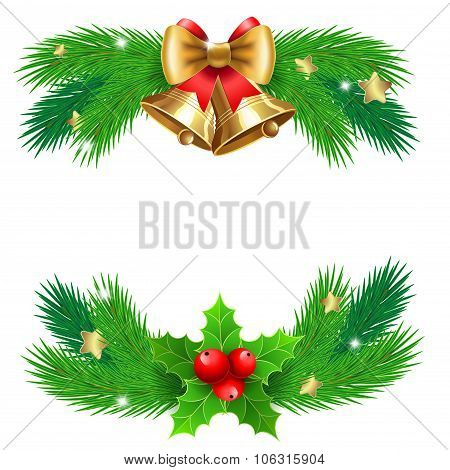 Jingle Bells With  Bow And Fir Tree Branches.