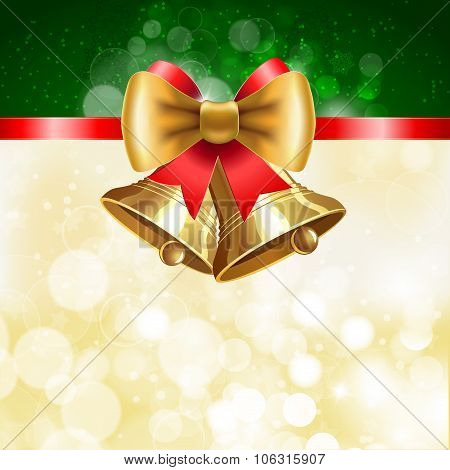 Jingle Bells With  Bow On Shining Background.
