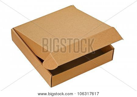 A brown pizza box, partially opened, isolated on white