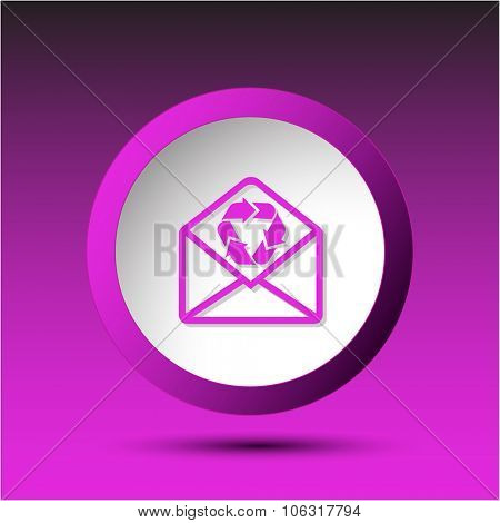 open mail with recycle symbol. Plastic button. Raster illustration.