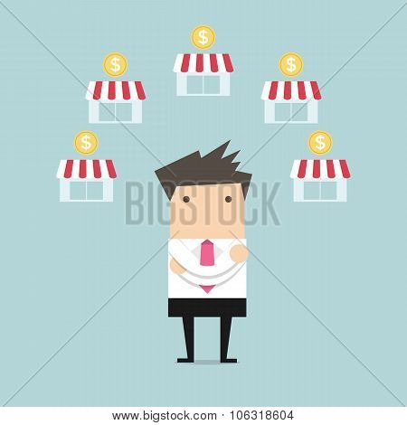 Businessman planing franchise business