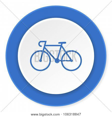 bicycle blue circle 3d modern design flat icon on white background