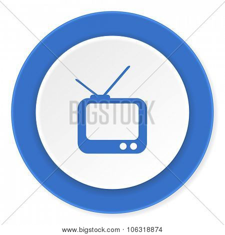 tv blue circle 3d modern design flat icon on white background
