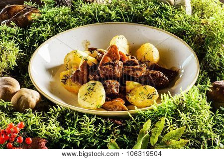 elk meat with potatoes