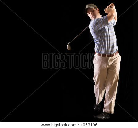 Golf Swing Isolated On Black