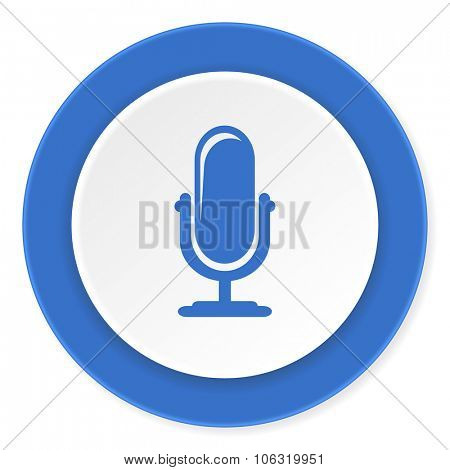 microphone blue circle 3d modern design flat icon on white background