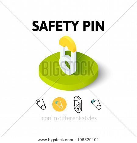 Safety pin icon in different style