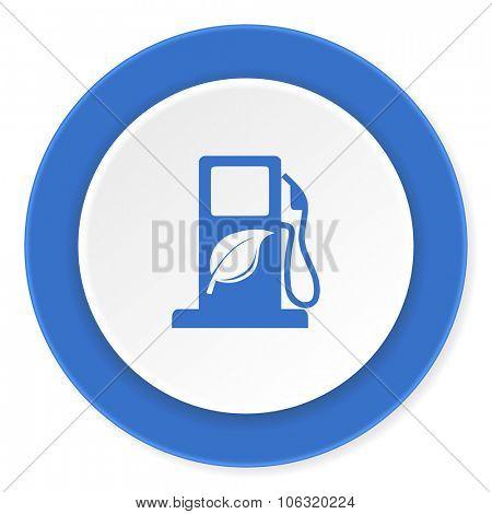 biofuel blue circle 3d modern design flat icon on white background