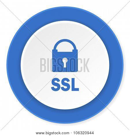 ssl blue circle 3d modern design flat icon on white background