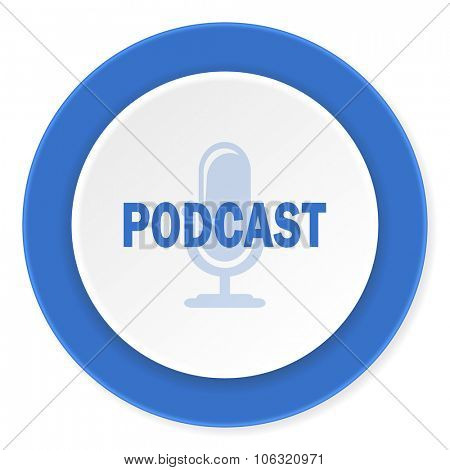 podcast blue circle 3d modern design flat icon on white background
