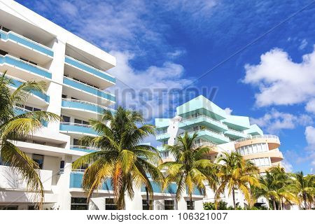 White And Blue Buildings In Ocean Drive. Miami Beach, Florida