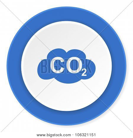 carbon dioxide blue circle 3d modern design flat icon on white background