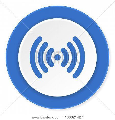 wifi blue circle 3d modern design flat icon on white background
