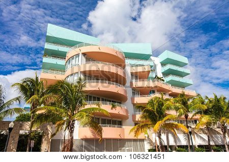 Rose And Blue Building In Ocean Drive. Miami Beach, Florida