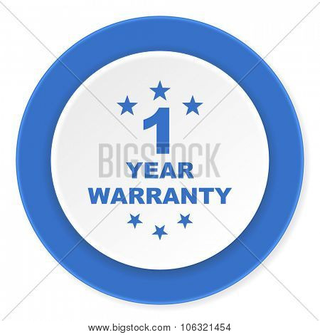 warranty guarantee 1 year blue circle 3d modern design flat icon on white background
