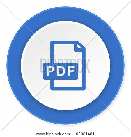pdf file blue circle 3d modern design flat icon on white background
