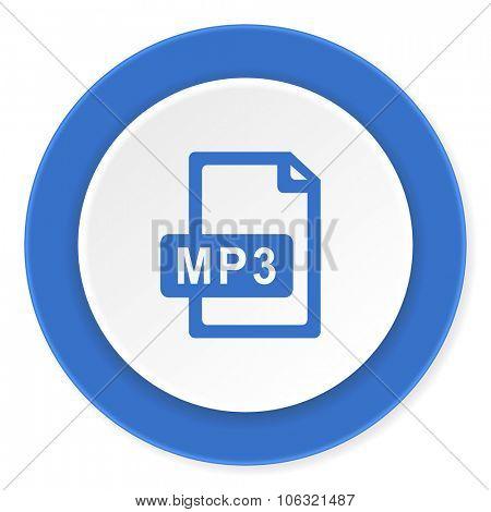 mp3 file blue circle 3d modern design flat icon on white background