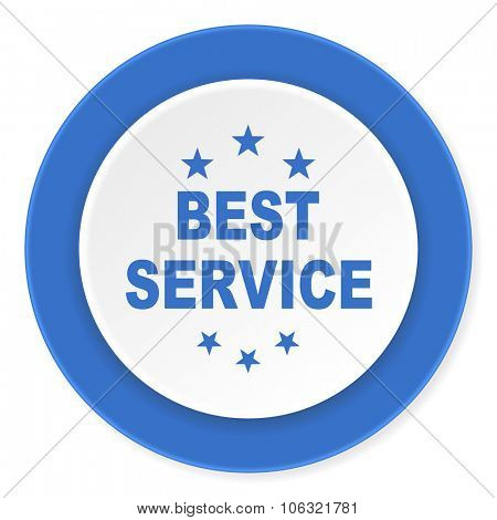 best service blue circle 3d modern design flat icon on white background