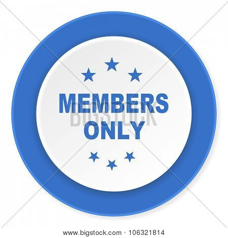 members only blue circle 3d modern design flat icon on white background
