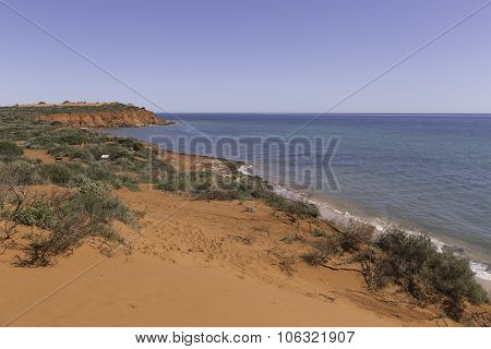 Red Sand Dunes on the Beach at Peron Point