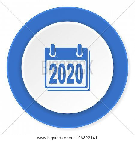 new year 2020 blue circle 3d modern design flat icon on white background