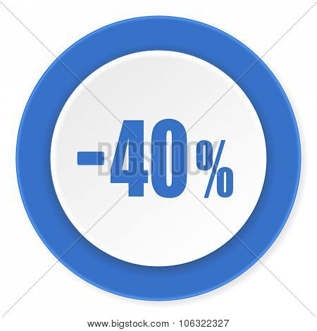 40 percent sale retail blue circle 3d modern design flat icon on white background