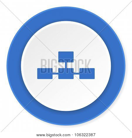 database blue circle 3d modern design flat icon on white background