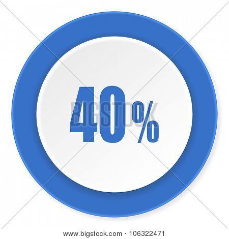 40 percent blue circle 3d modern design flat icon on white background