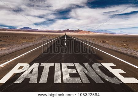 Patience written on desert road