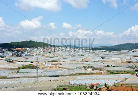 Da Lat, Viet Nam- May 3: Development of floriculture industry with many greenhouse and high power consumption can make increase CO2 green house effect and climate change, Dalat, Vietnam, May 3, 2015