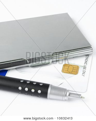 business card holder case with pen isolated