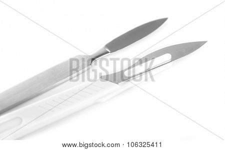 Surgery scalpel isolated on white