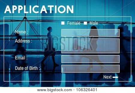 Application Form Interface Web Page Register Concept