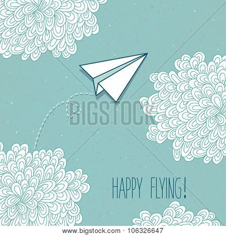 Cute vector hand-drawn greeting card with a paper airplane and clouds.