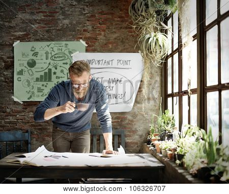 Businessman Determine Ideas Working Plan Concept