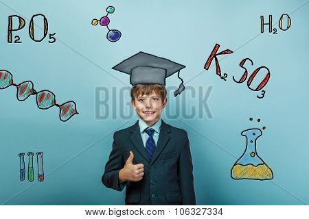 teacher boy chemistry  teenage student boy in suit gesture yes i