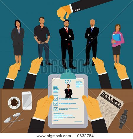 human resources, interview, hr, Vector Illustration