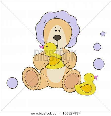 Teddy bear bath time