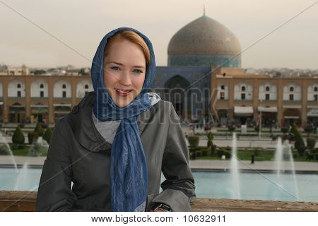 Girl With A Scarf In Isfahan, Iran